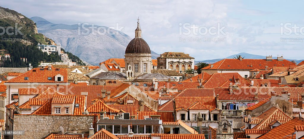 Roofs of the Old town of Dubrovnik  stock photo