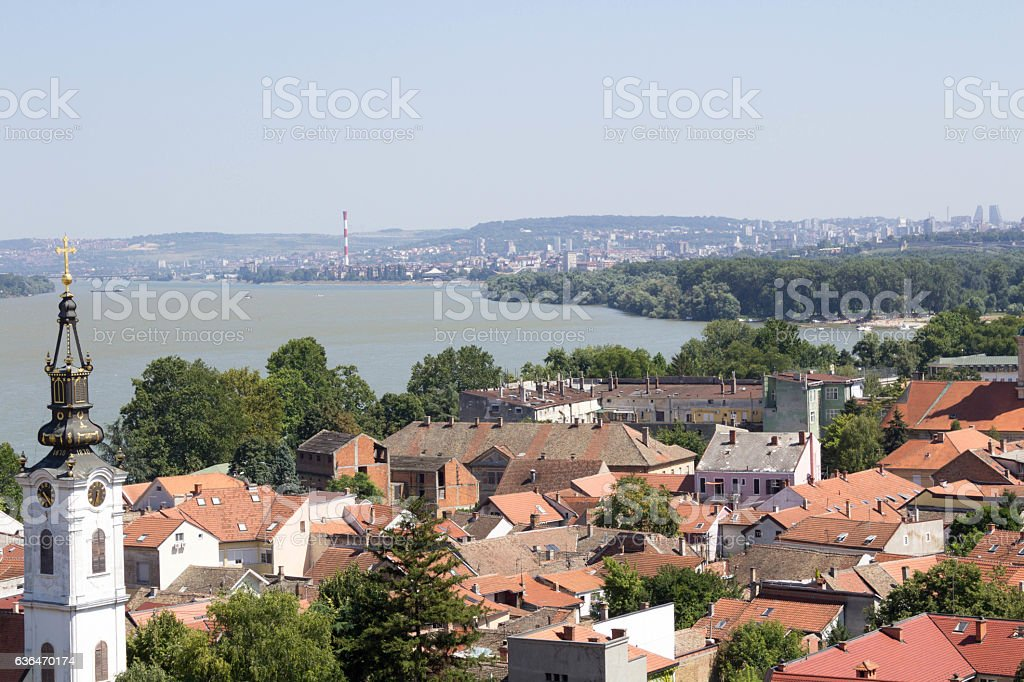Roofs of Zemun stock photo