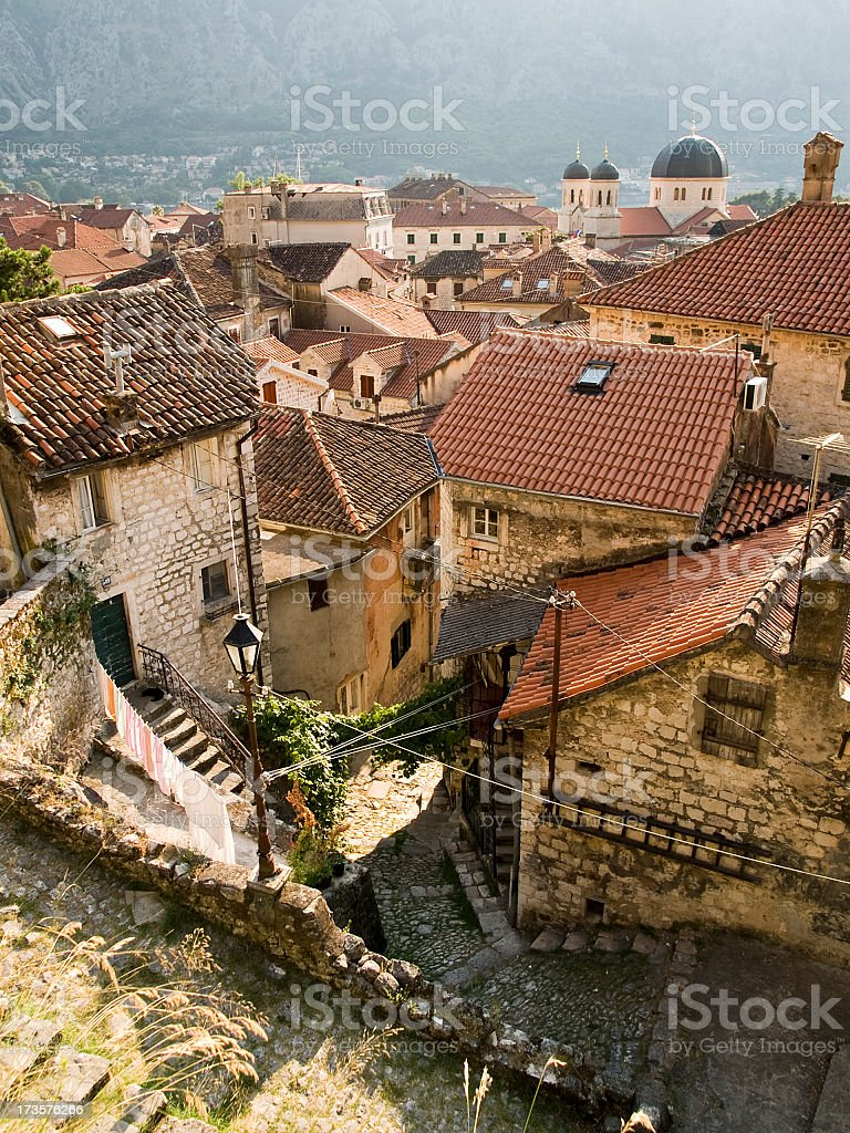 Roofs on cityscape of a medieval town royalty-free stock photo