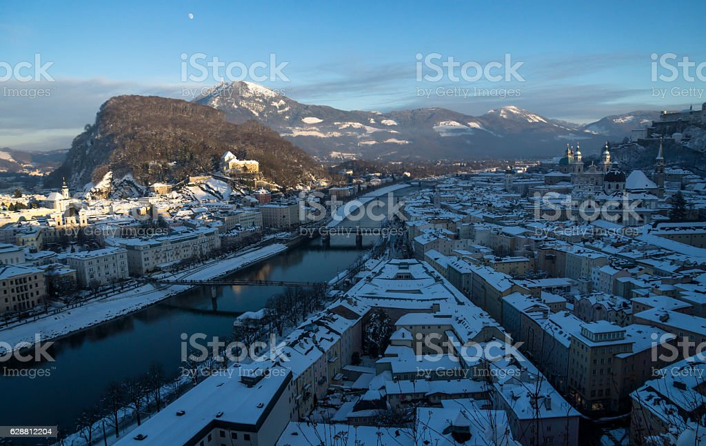 Roofs with snow, overview over Salzburg old town stock photo