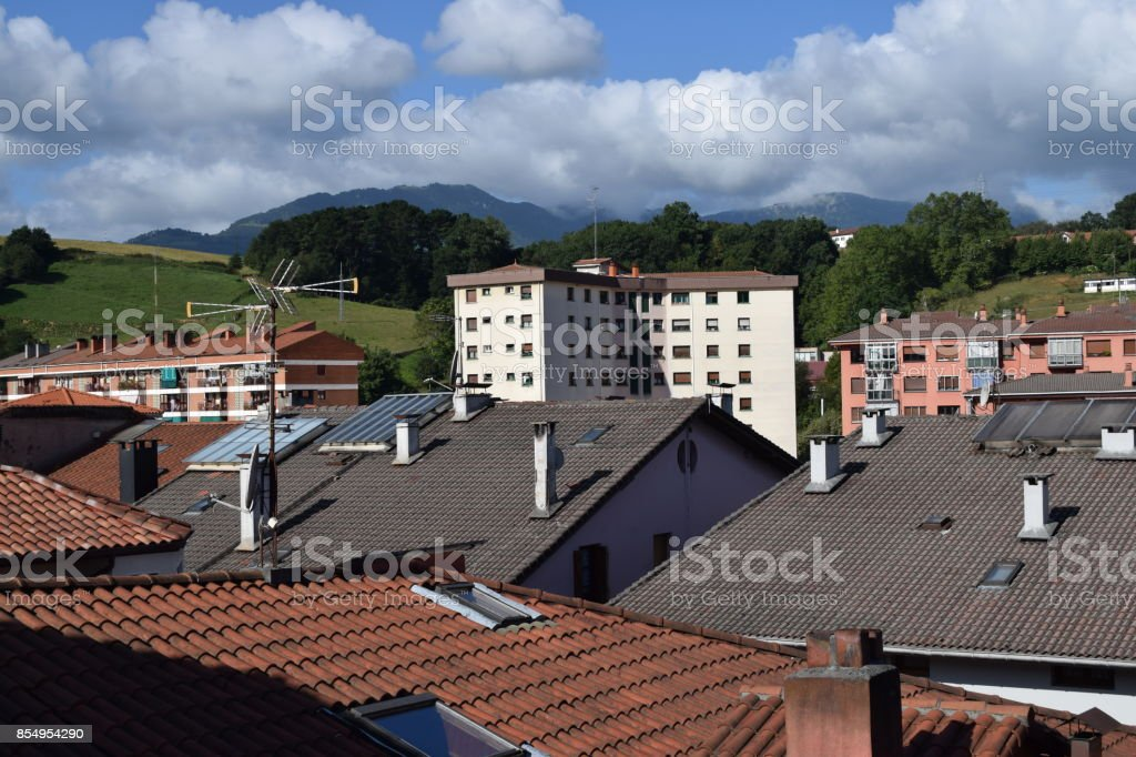 Roofs with windows. stock photo