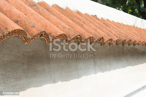 small roof tiles  decorative on wall of house