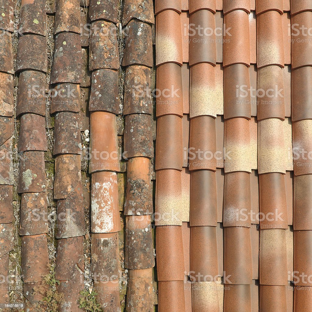 rooftiles | old and new, high angle view royalty-free stock photo