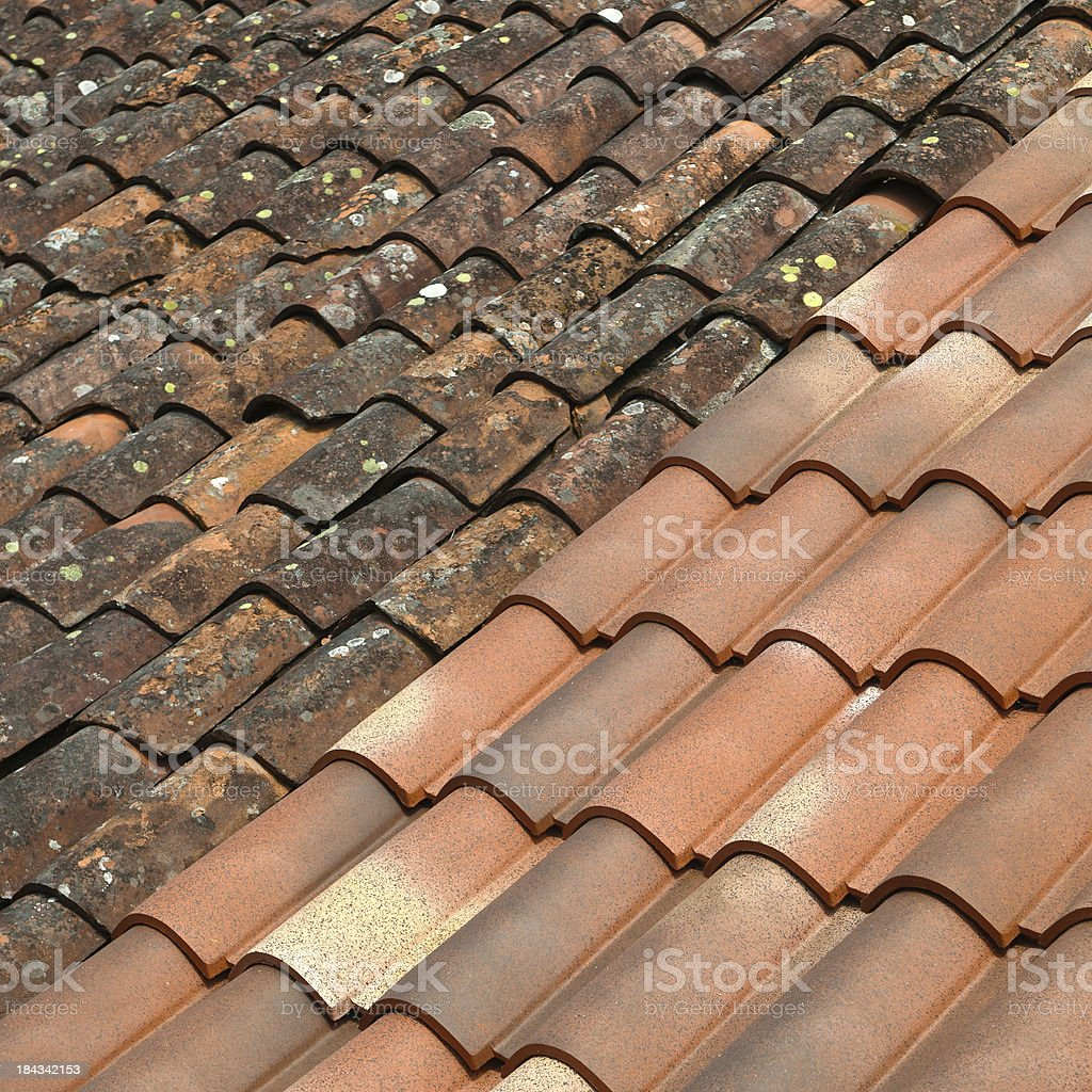 rooftiles | old and new royalty-free stock photo