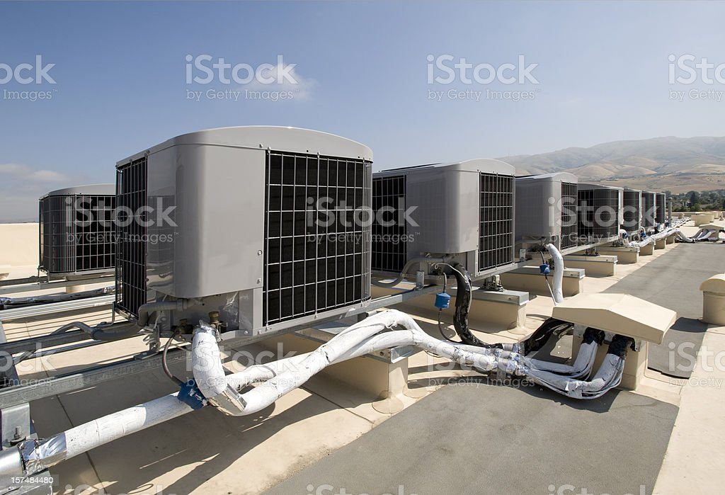 Rooftop Air Conditioner Installation royalty-free stock photo