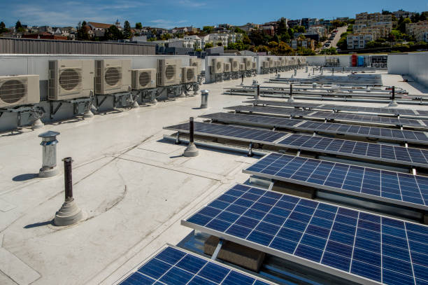 Rooftop Air Conditioners and Solar Panels stock photo