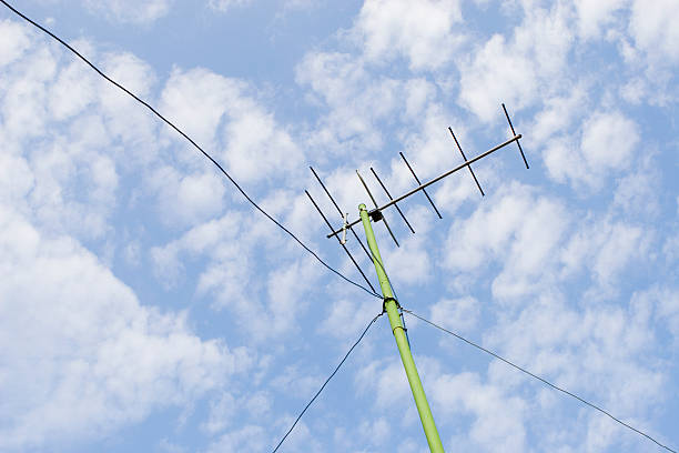 rooftop antenna - ham radio stock photos and pictures