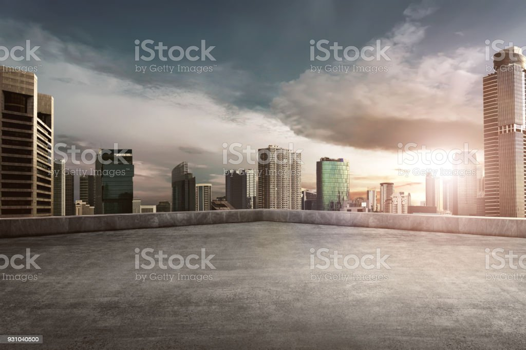 Rooftop balcony with cityscape royalty-free stock photo