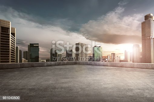 istock Rooftop balcony with cityscape 931040500