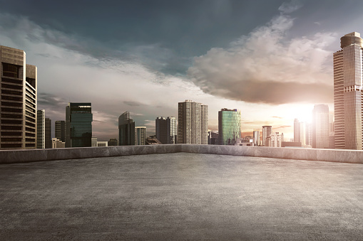 Rooftop Balcony With Cityscape Stock Photo - Download Image Now