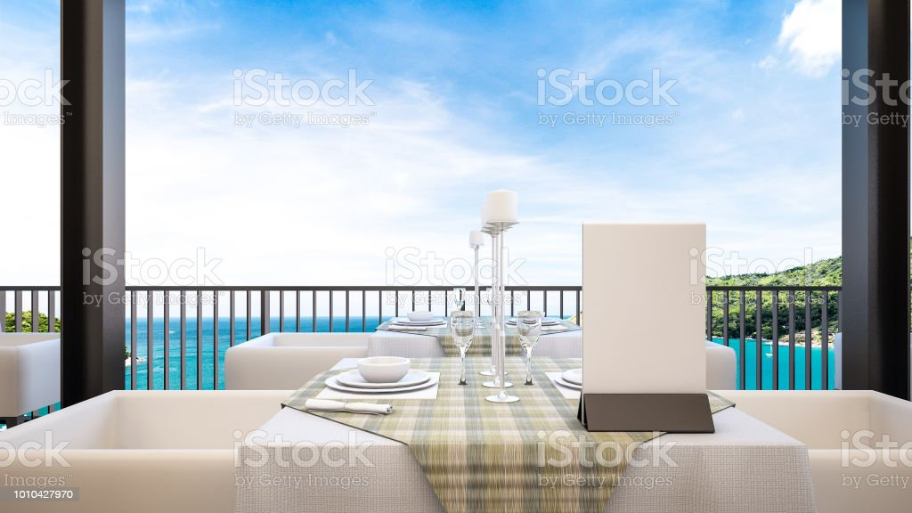 Rooftop Bars And Restaurants With Outdoor Seating With Sea View 3d Rendering Stock Photo Download Image Now Istock