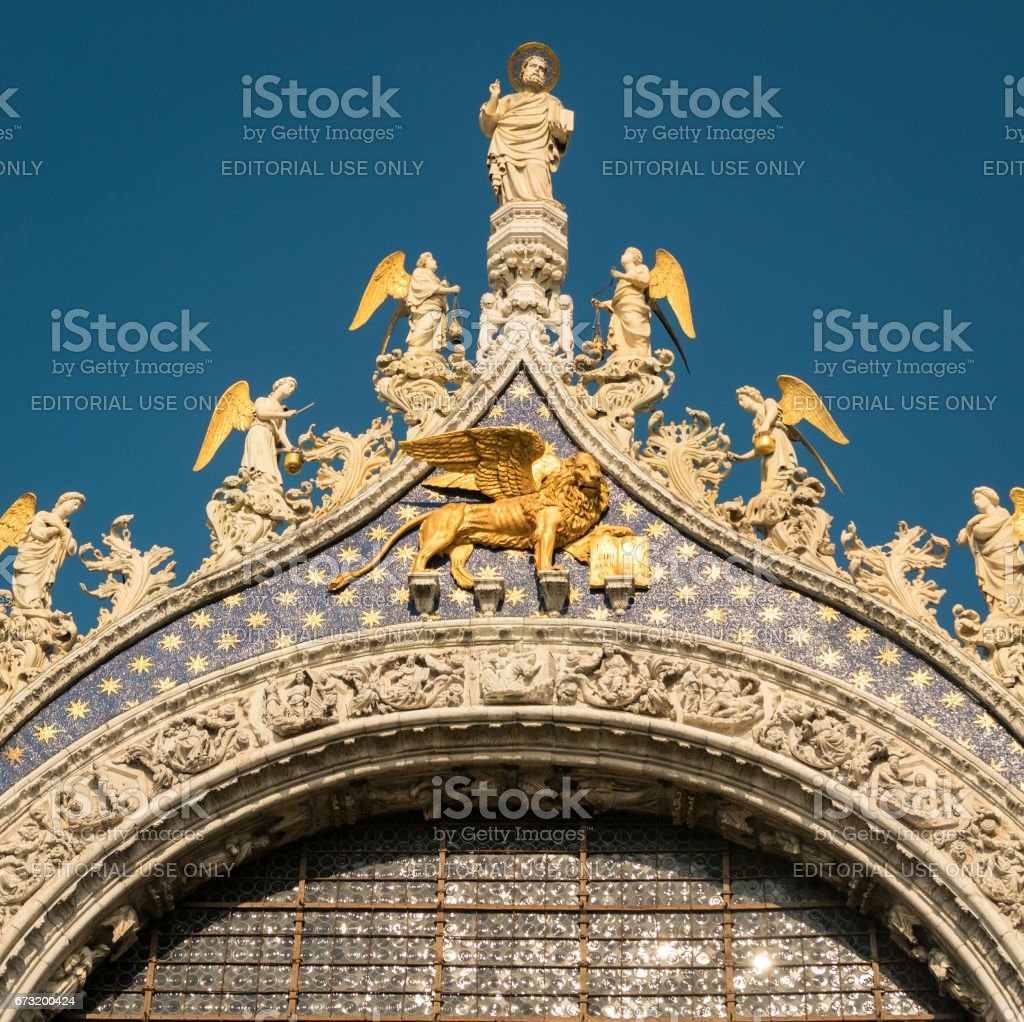 Rooftop detail of the Basilica of Saint Mark in Venice, Italy stock photo