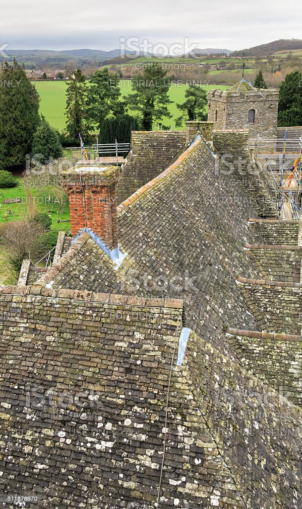 Rooftop detail - Stokesay Castle, England. stock photo