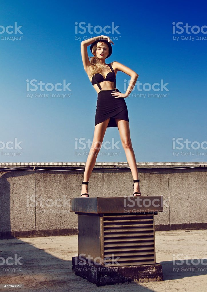 Rooftop fashion shoot stock photo