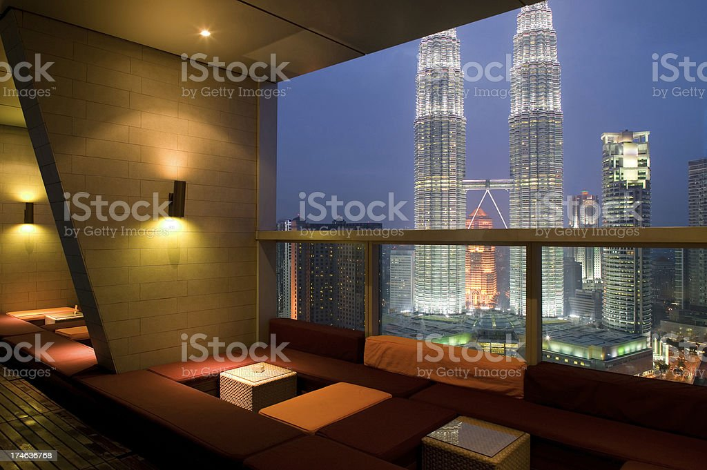rooftop hotel restaurant night view city royalty-free stock photo