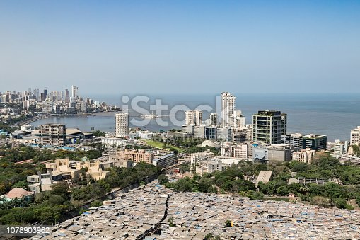 India, Development, Construction Industry, Business - Rooftop Image of Buildings and neighboring community in Mumbai, Maharashtra