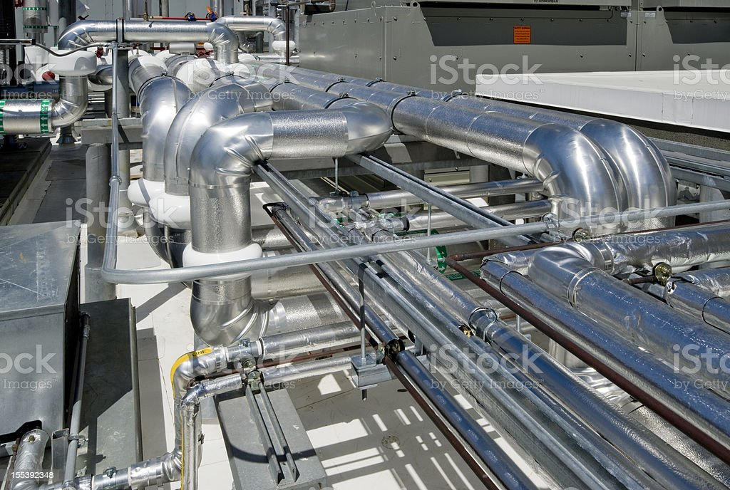 Rooftop Industrial HVAC System royalty-free stock photo