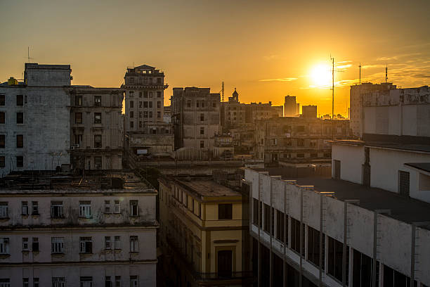 Rooftop of La Havane at sunset stock photo