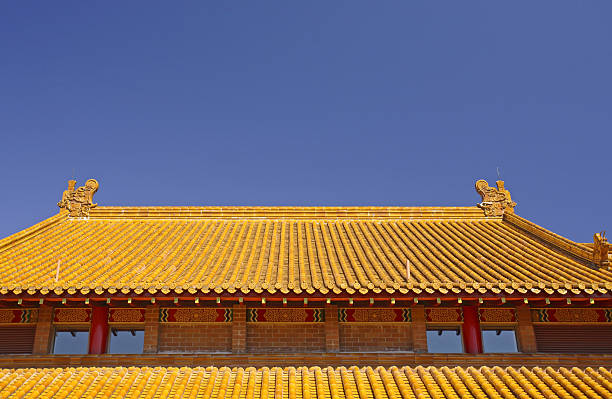 Rooftop of the Buddhist Temple stock photo