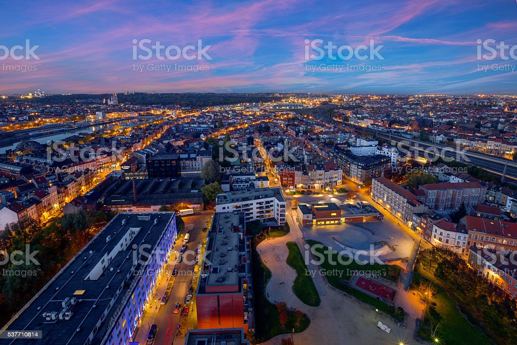 rooftop on building in Brussels stock photo