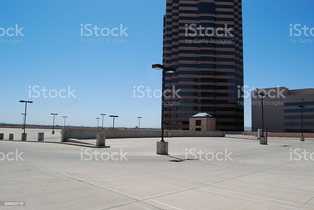 Rooftop parking stock photo