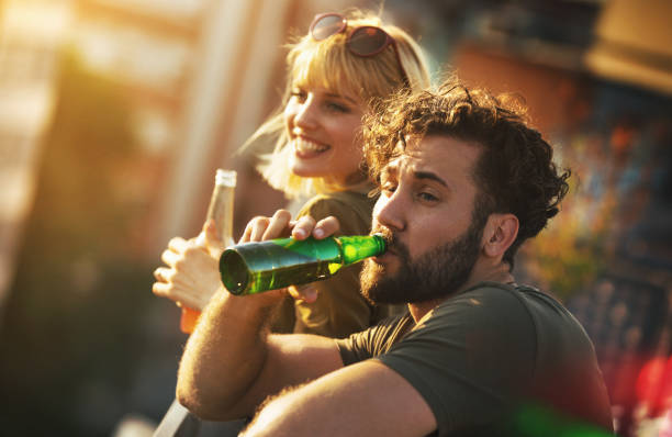 Rooftop party on a summer afternoon. stock photo
