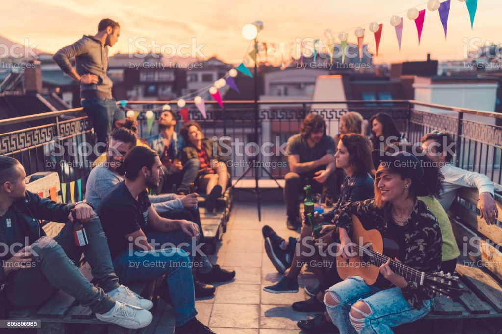 Rooftop party stock photo