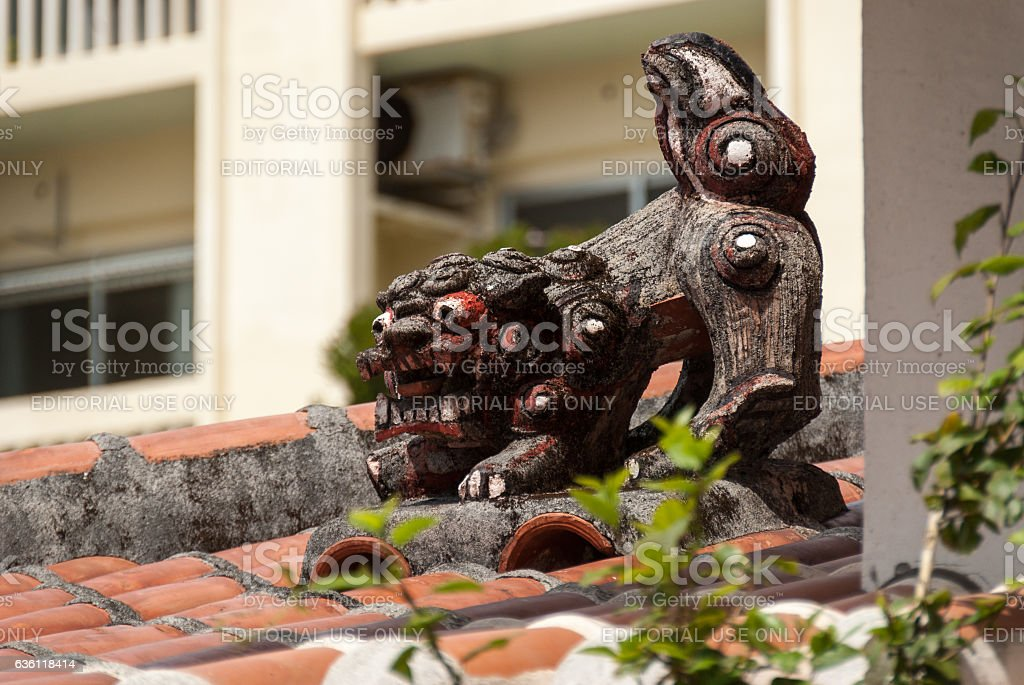 Rooftop pottery in Okinawa stock photo