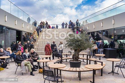 Rooftop restaurant on the upper floor of the Forum in Groningen, Netherlands