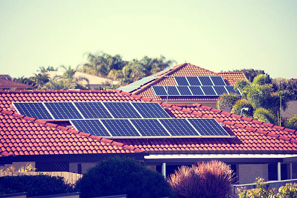 Rooftop solar panels stock photo