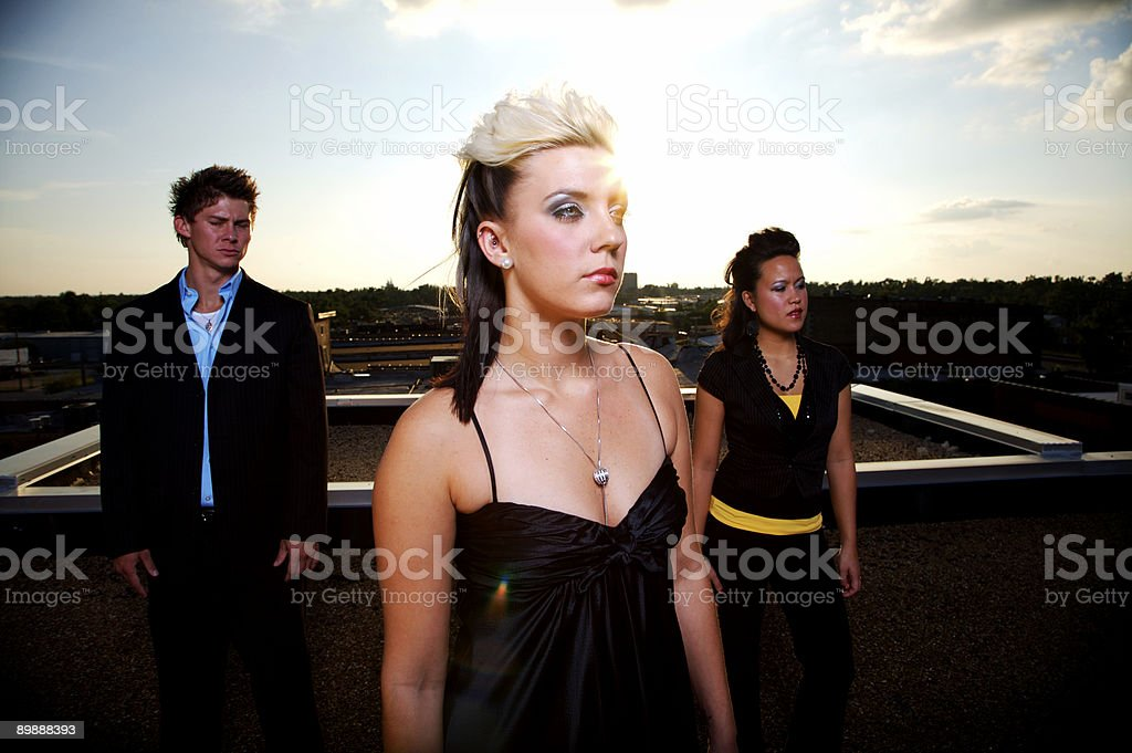 rooftop sunset young adult portraits royalty-free stock photo