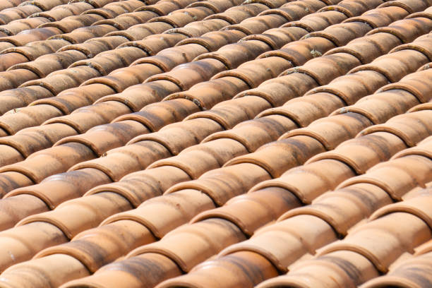 Rooftop tile texture for background. Selective focus. stock photo