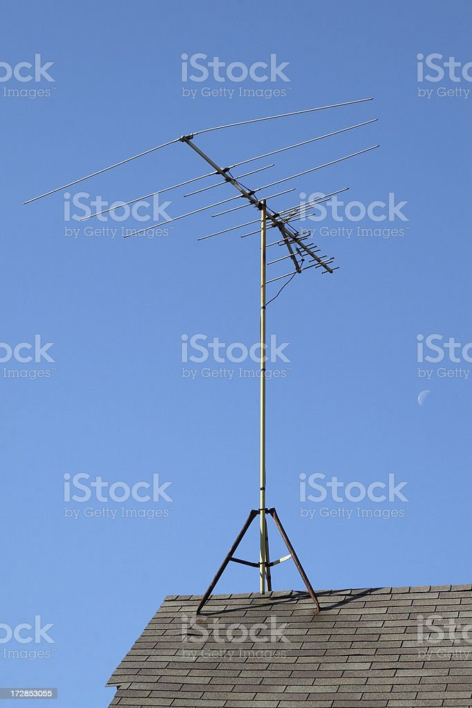 rooftop TV antenna royalty-free stock photo