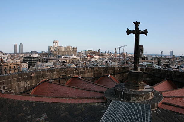 Rooftop View In Barcelona stock photo