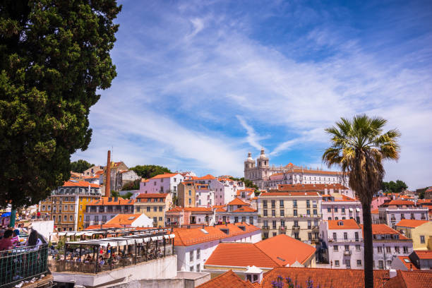 Rooftop view of Alfama District - Lisbon, Portugal stock photo