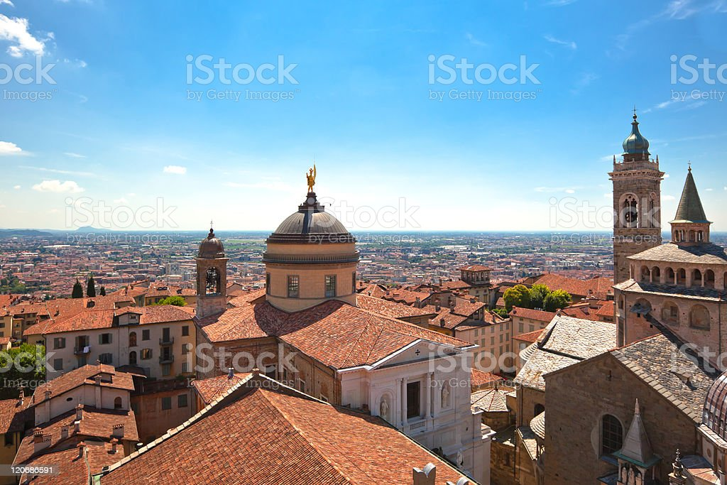 Rooftop view of bergamo Alfa, Italy stock photo