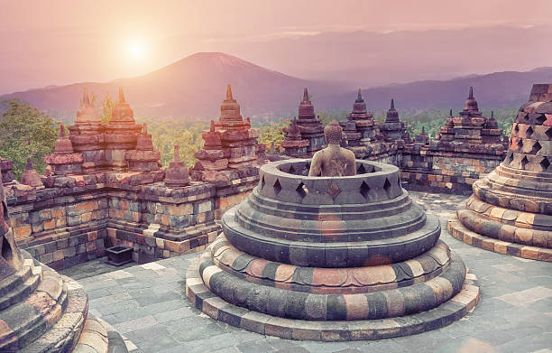 Rooftop view of Borobudur Temple Borobudur Temple at sunrise.Java.Indonesia. indonesia stock pictures, royalty-free photos & images