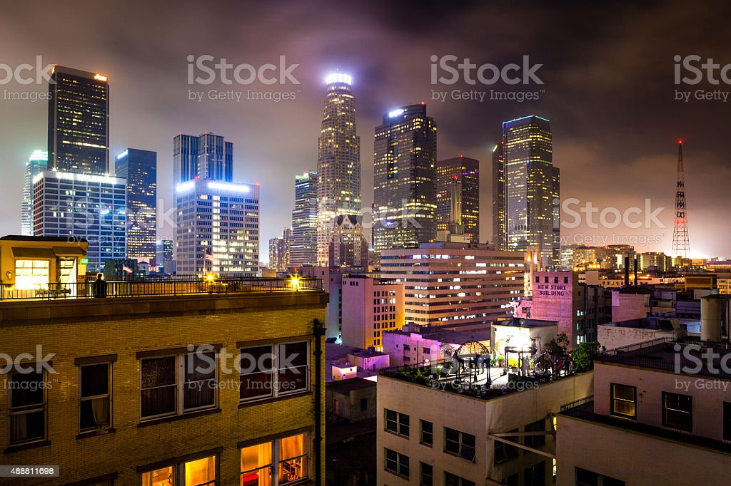 Rooftop View Of Downtown Los Angeles Skyline stock photo