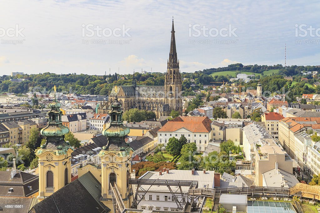 Rooftop view of Linz, Austria with New Cathedral stock photo