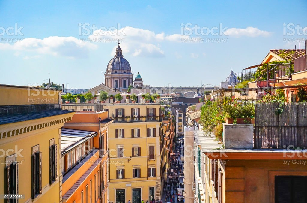 Rooftop view of Rome Italy stock photo