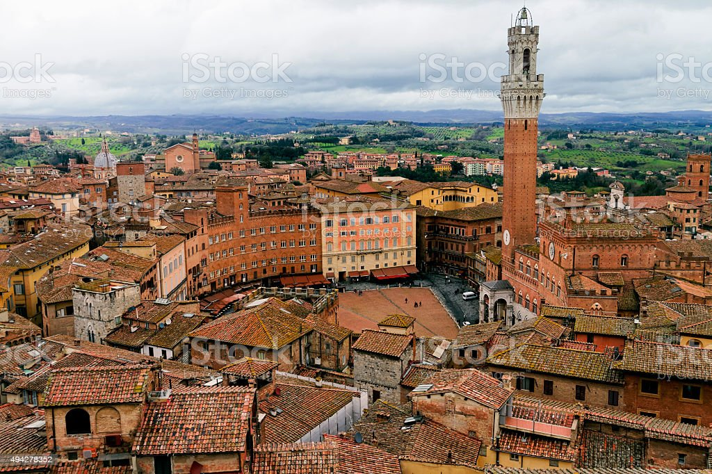 Rooftop view of Siena, Italy. stock photo