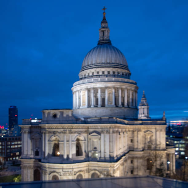 Rooftop view of St Paul's Cathedral stock photo