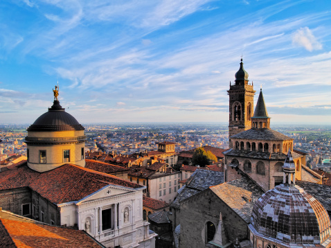 A rooftop view of the city of Bergamo