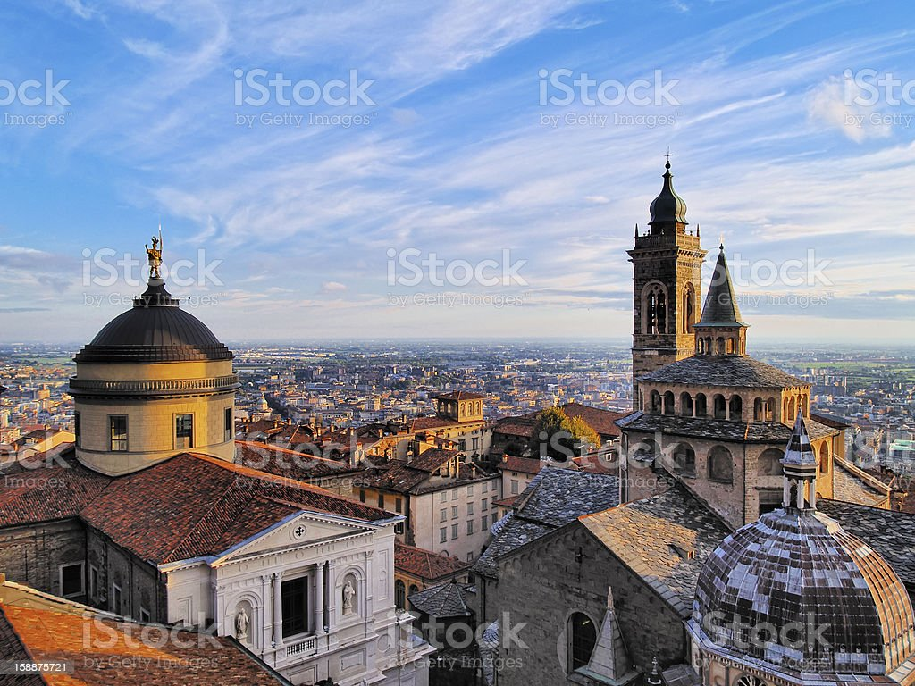 A rooftop view of the city of Bergamo stock photo