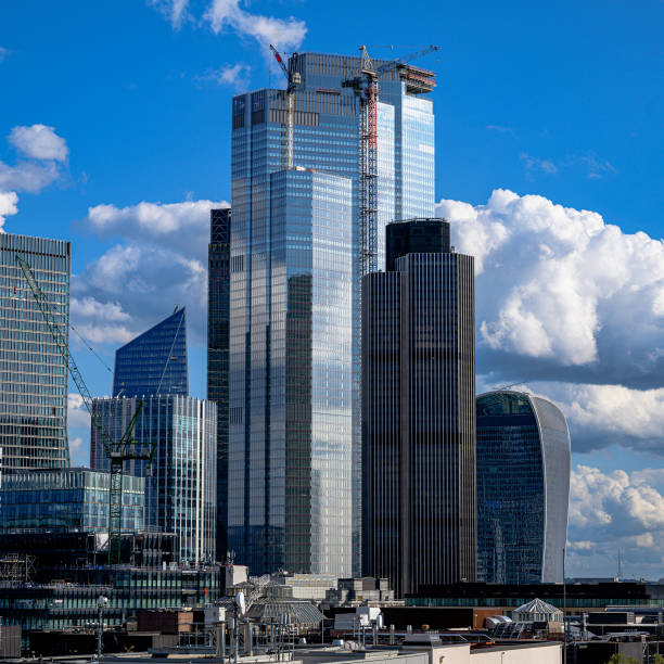 Rooftop view of the City of London stock photo