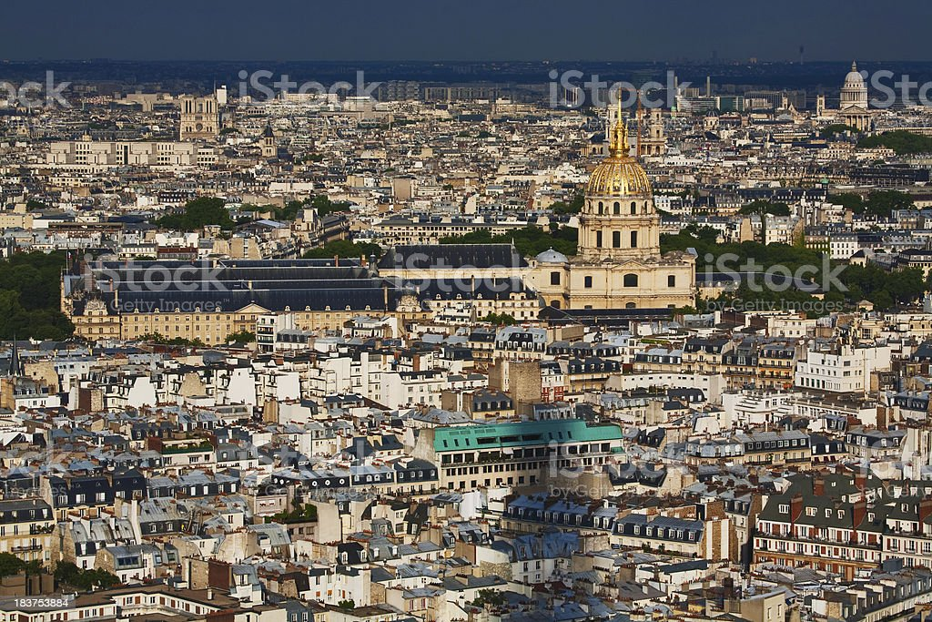 Rooftop view of the Paris historic city center royalty-free stock photo