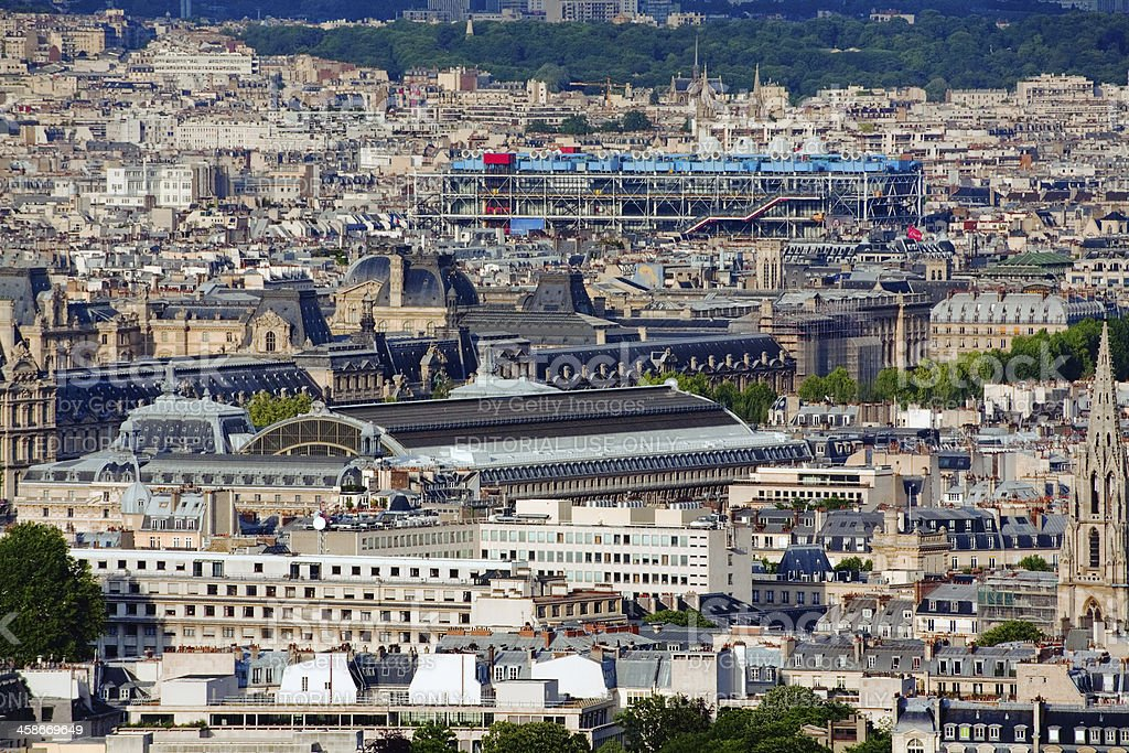 Rooftop view of the Paris historic city center stock photo
