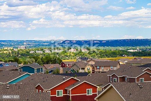 Rooftop views over Colorado Springs. Colorado, USA