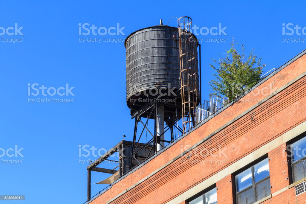 Rooftop water tank stock photo