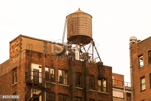 Rooftop water tower in Manhattan, New York City